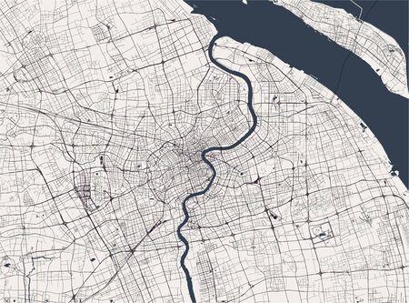 map of the city of Shanghai, China Ilustração