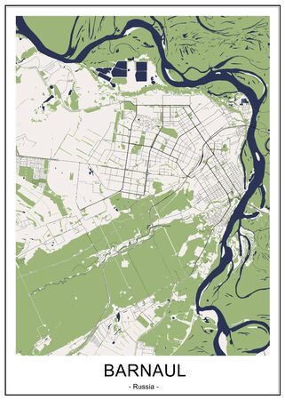 vector map of the city of Barnaul, Russia Ilustrace