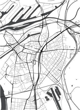 map of the city of Duisburg, Germany Illustration