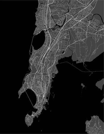 vector map of the city of Mumbai, Indian state of Maharashtra Ilustração