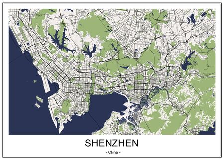 vector map of the city of Shenzhen, China