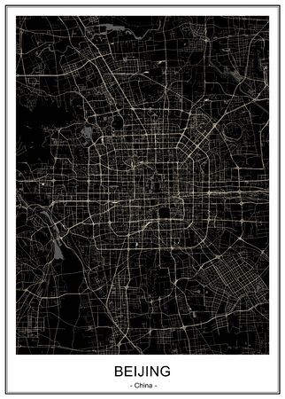 vector map of the city of Beijing, China