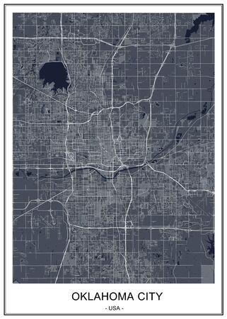 vector map of the city of Oklahoma, Oklahoma City, USA