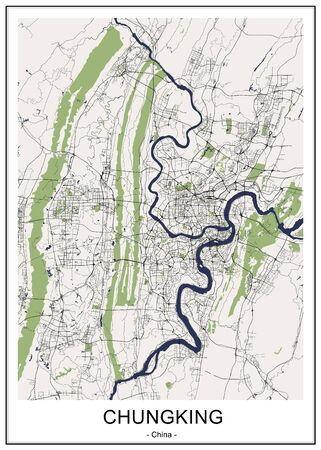 vector map of the city of Chongqing, China Ilustrace