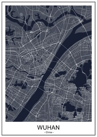 vector map of the city of Wuhan, China