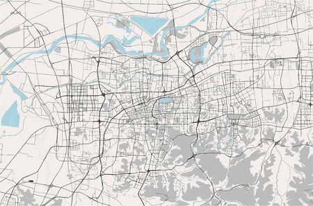 vector map of the city of Jinan, China 写真素材 - 133936572