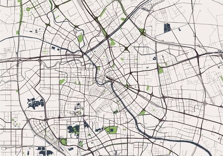 vector map of the city of Tianjin, China