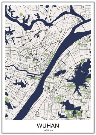 vector map of the city of Wuhan, China 写真素材 - 133936582