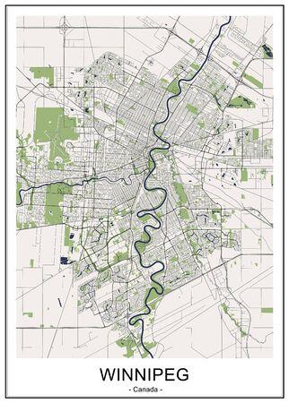 vector map of the city of Winnipeg, Canada 写真素材 - 133936586