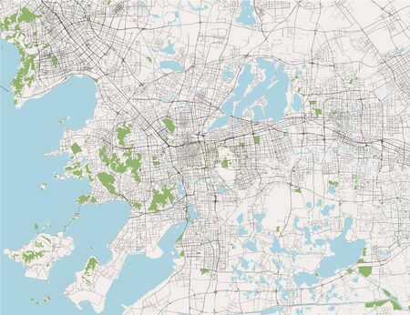 vector map of the city of Suzhou, China 写真素材 - 133936587