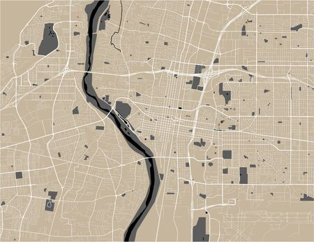 map of the city of Bakersfield, USA