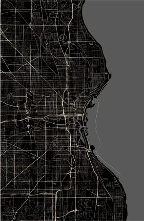 vector map of the city of Milwaukee, Wisconsin, United States America 向量圖像