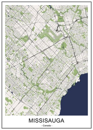 vector map of the city of Mississauga, Canada
