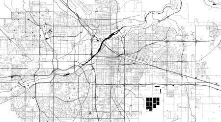 vector map of the city of Bakersfield, California, United States America 写真素材 - 134481868