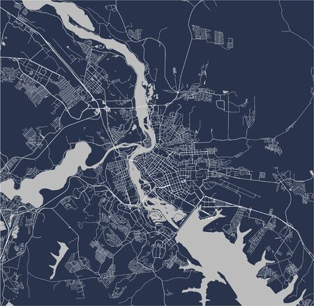 map of the city of Irkutsk, Russia