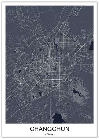 vector map of the city of Changchun, China 写真素材 - 134485524
