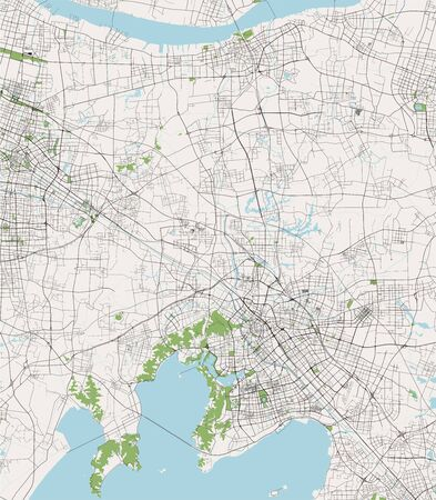 vector map of the city of Wuxi, China 写真素材 - 134608961