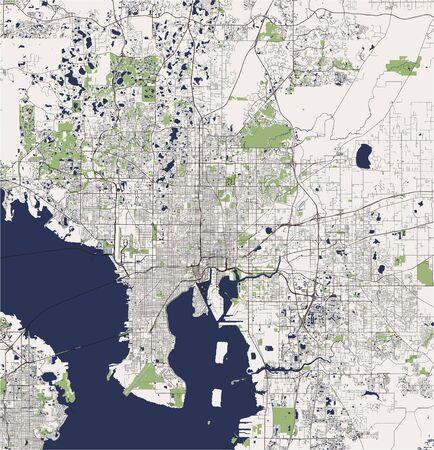 Karte der Stadt Tampa, Florida, USA Vektorgrafik