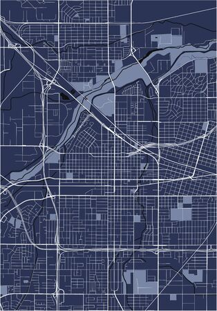 vector map of the city of Bakersfield, California, United States America 向量圖像