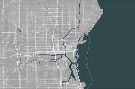 vector map of the city of Milwaukee, Wisconsin, United States America Ilustração