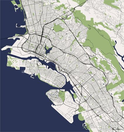 map of the city of Oakland, California, USA