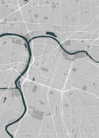 map of the city of Sacramento, USA