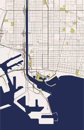 map of the city of Long Beach, California, USA