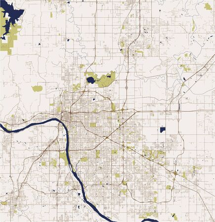 vector map of the city of Tulsa, Oklahoma, United States America
