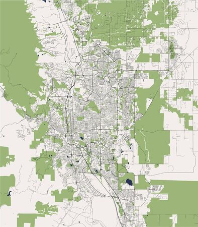 vector map of the city of Colorado Springs, Colorado, United States America  イラスト・ベクター素材