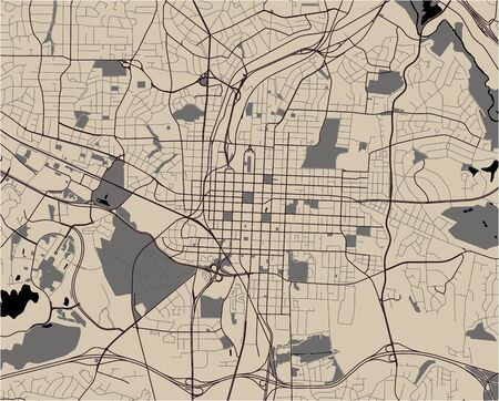 vector map of the city of Raleigh, North Carolina, United States America