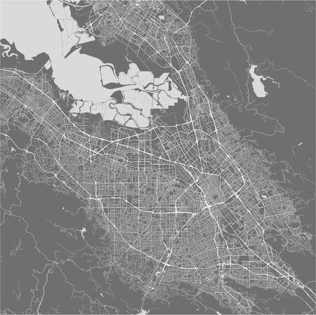 vector map of the city of San Jose, California, USA Çizim