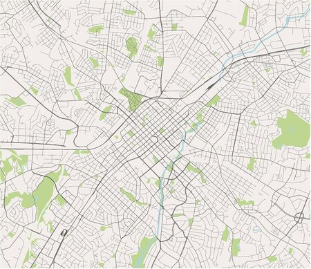 vector map of the city of Charlotte, in the USA of North Carolina