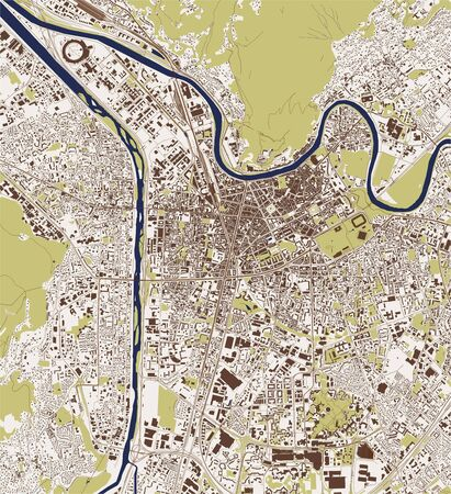 vector map of the city of Grenoble, Isere, Auvergne-Rhone-Alpes, France  イラスト・ベクター素材