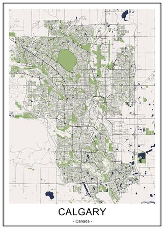 vector map of the city of Calgary, Canada