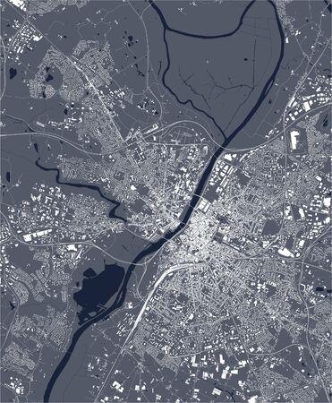 vector map of the city of Angers, Maine-et-Loire, Pays de la Loire, France  イラスト・ベクター素材