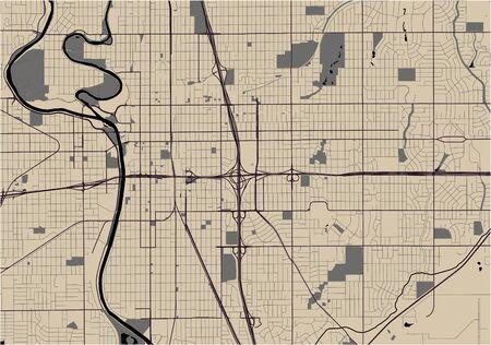 vector map of the city of Wichita, Kansas, United States America  イラスト・ベクター素材