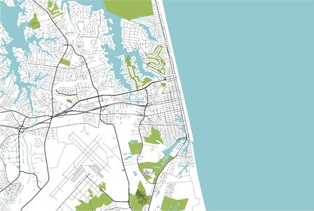 vector map of the city of Virginia Beach, Virginia, United States America  イラスト・ベクター素材