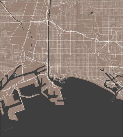 vector map of the city of Long Beach,California, United States America