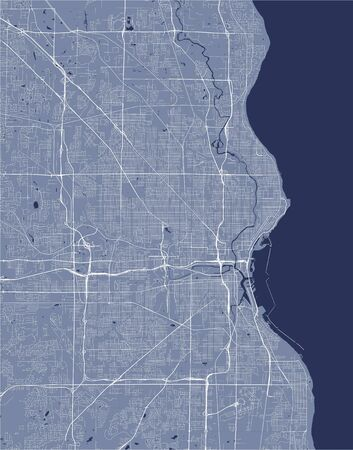 vector map of the city of Milwaukee, Wisconsin, United States America  イラスト・ベクター素材