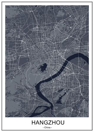 vector map of the city of Hangzhou, China