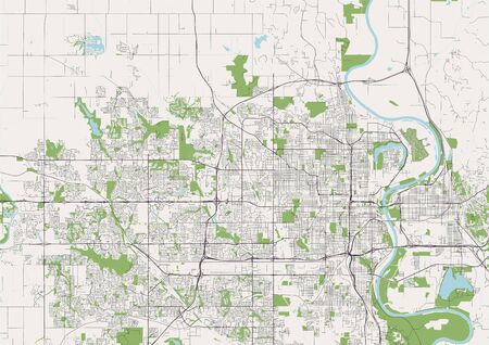 vector map of the city of Omaha,Nebraska, United States America