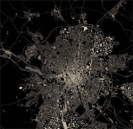 vector map of the city of Dijon, Cote-dOr, Bourgogne-Franche-Comte, France