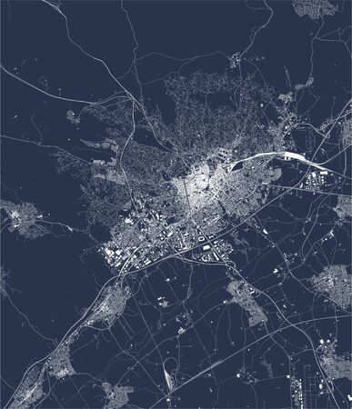 vector map of the city of Nimes, Gard, Occitanie, France  イラスト・ベクター素材