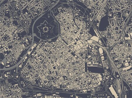 vector map of the city of Lille, Nord, Hauts-de-France, France