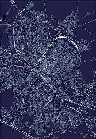 vector map of the city of Reims, Marne, Grand Est, France