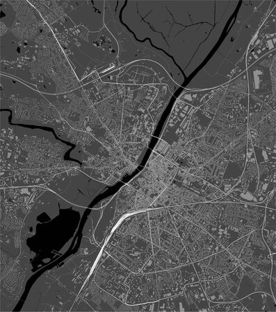 vector map of the city of Angers, Maine-et-Loire, Pays de la Loire, France  イラスト・ベクター素材