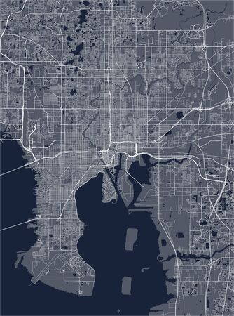 vector map of the city of Tampa, Florida, United States America
