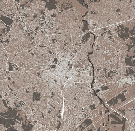 vector map of the city of Montpellier, Herault, Occitanie, France
