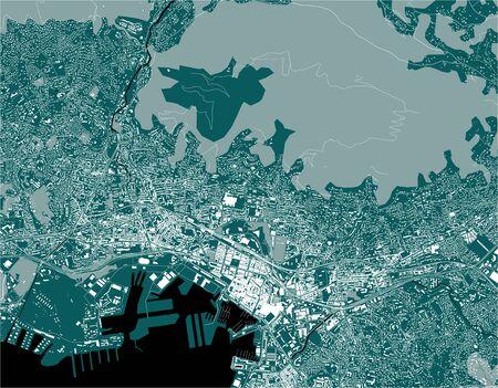 vector map of the city of Toulon, Var, Provence-Alpes-Cote dAzur, France