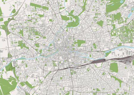 vector map of the city of Rennes, Ille-et-Vilaine, Brittany, France